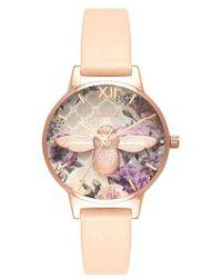 Olivia Burton - Glasshouse Leather Strap Watch - Lyst