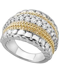 Lagos - 18k Gold And Sterling Silver Diamond Lux Ring - Lyst
