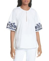 Tory Burch - Amy Embroidered Cotton Blouse - Lyst