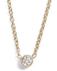 Zoe Chicco - Diamond Bezel Pendant Necklace - Lyst