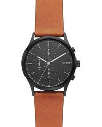 Skagen - Jorn Chronograph Leather Strap Watch - Lyst
