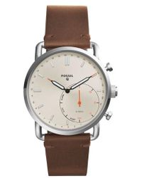 Fossil Q - Commuter Leather Strap Hybrid Smart Watch - Lyst