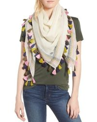 Tory Burch | Embroidered Tassel Trim Wool Square Scarf | Lyst