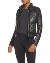 BLANC NOIR | Leather & Mesh Moto Jacket | Lyst