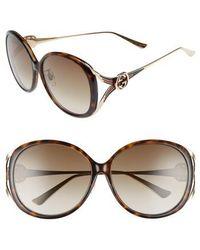Gucci - 60mm Round Sunglasses - - Lyst