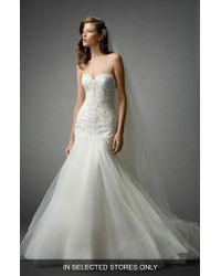 Watters - Shaina Beaded Lace & Tulle Mermaid Gown - Lyst