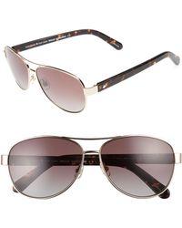 adcdff51b6 Kate Spade -  dalia  58mm Polarized Aviator Sunglasses - Lyst