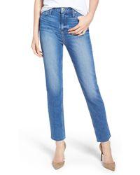 PAIGE - Vintage Hoxton High Waist Slim Raw Hem Jeans - Lyst