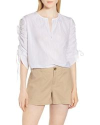 Nordstrom - Pull Tie Sleeve Stripe Cotton Blouse - Lyst