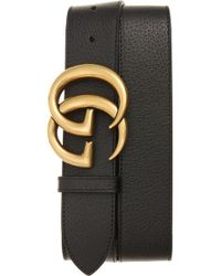 57acb83d1d3f Gucci Marmont Logo Leather Belt in Black for Men - Lyst
