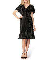Tahari - Stripe Ruffle Faux Wrap Dress - Lyst