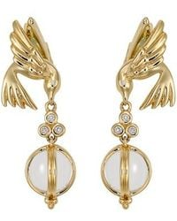 Temple St. Clair - Crystal & Diamond Bird Drop Earrings - Lyst