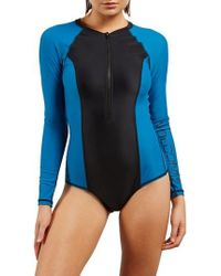 Volcom - Simply Solid Long Sleeve One-piece Swimsuit - Lyst