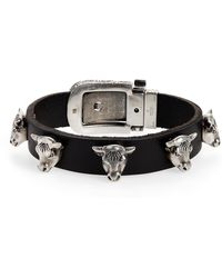 Gucci - Sterling Silver Stud Leather Bracelet - Lyst