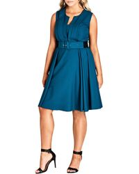 998fbe1d99df City Chic - Vintage Veronica Belted Pleat Fit   Flare Dress - Lyst