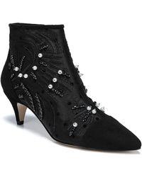 f8b365a5c4d61 Lyst - Sam Edelman Kami Embellished Kitten Heel Booties in Black ...