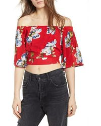 Band Of Gypsies - Blue Moon Floral Off The Shoulder Crop Top - Lyst