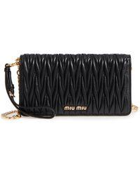 Miu Miu - Matelasse Leather Wallet On A Chain - Lyst