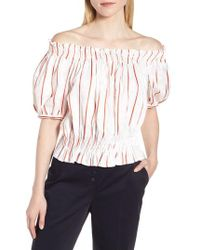 LEWIT - Puff Sleeve Stripe Top - Lyst