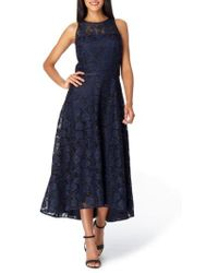 Tahari - Floral Embroidery Sleeveless Midi Dress - Lyst