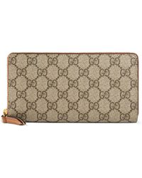 Gucci - Gg Supreme Zip Around Canvas Wallet - - Lyst
