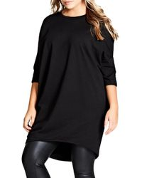 City Chic Oversize Knit Tee - Black