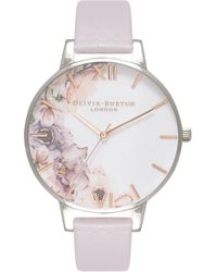 Olivia Burton - Watercolour Florals Leather Strap Watch - Lyst