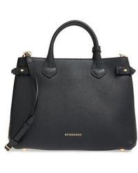 Burberry - Medium Banner House Check Leather Tote - - Lyst