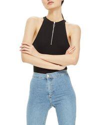 TOPSHOP - Zip Front Bodysuit - Lyst