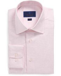 David Donahue | Trim Fit Microdot Dress Shirt | Lyst