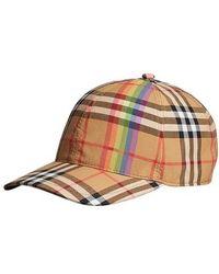 Burberry - Rainbow Vintage Check Cotton Cap - Lyst