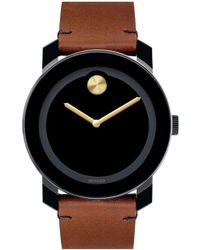 Movado - 'bold' Leather Strap Watch - Lyst