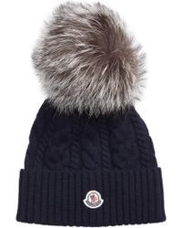 Moncler - Genuine Fox Fur Pom Wool Beanie - Lyst