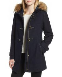 Cole Haan - Cole Haan Hooded Duffle Coat With Faux Fur Trim - Lyst