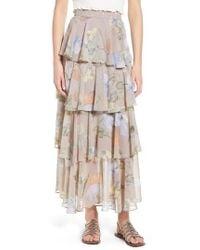 Lost + Wander - Clarita Floral Tiered Maxi Skirt - Lyst