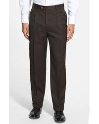 JB Britches - Double Pleated Super 100s Worsted Wool Trousers - Lyst