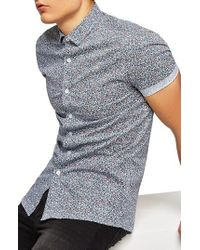 TOPMAN - Muscle Fit Ditsy Floral Print Shirt - Lyst