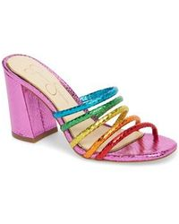 Fixton Rainbow Metallic Snake Block Heel Strappy Slide Sandals PJQqxqg