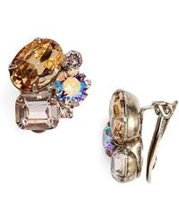 Sorrelli - Cluster Crystal Clip Earrings - Lyst