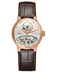 Rado - Centrix Open Heart Automatic Leather Strap Watch - Lyst