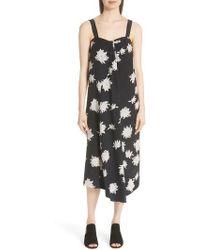 Vince - Chrysanthemum Print Silk Midi Dress - Lyst