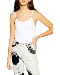 TOPSHOP White Ring Textured Bodysuit
