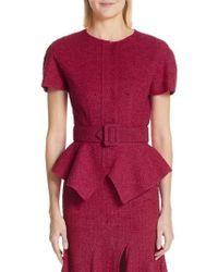Oscar de la Renta - Belted Peplum Wool Blend Tweed Jacket - Lyst