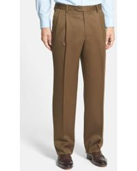 Berle - Pleated Wool Gabardine Trousers - Lyst
