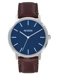Nixon   Porter Round Leather Strap Watch   Lyst
