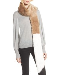 Heurueh - Colorblock Faux Fur Scarf - Lyst