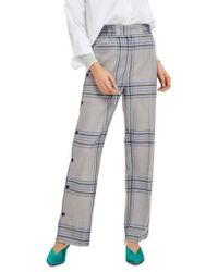 TOPSHOP | Plaid Popper Wide Leg Trousers | Lyst