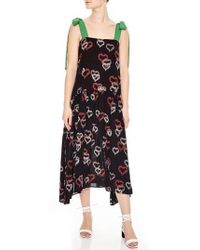 Sandro - Floral Hearts Tie Strap Midi Dress - Lyst