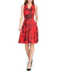 Tahari - Floral Fit & Flare Dress - Lyst