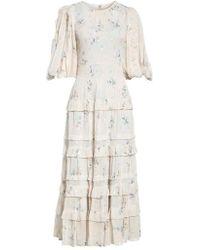 Rebecca Taylor - Metallic Faded Floral Midi Dress - Lyst